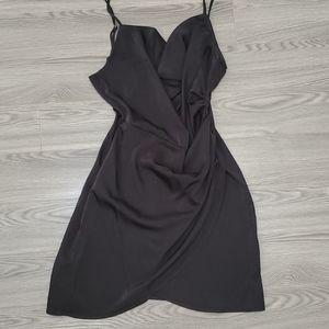 Nasty Gal Black Strappy Cowl Neck Dress